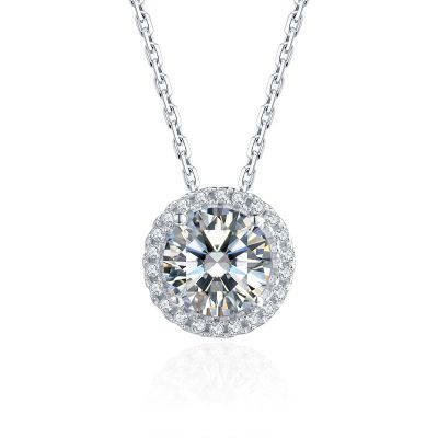 Sterling Silver Classic Halo Round Cut Necklace