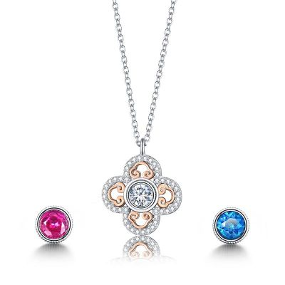 The Imperial Palace Sterling Silver Four Leaf Clover Round Cut Necklace