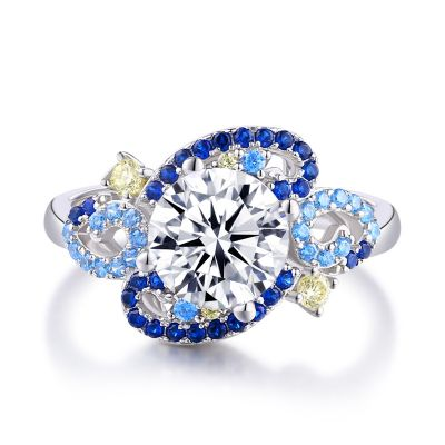 Sterling Silver The Starry Night Inspired Twist Round Cut Engagement Ring