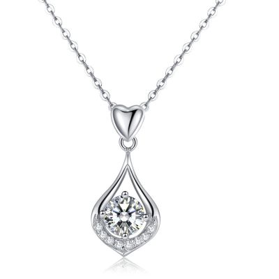 Sterling Silver Elegant Drop Shape Inspired Round Cut Necklace