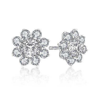 Sterling Silver Floral Halo Round Cut Stud Earrings