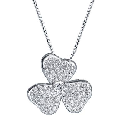 Sterling Silver Elegant Clover Inspired Round Cut Necklace
