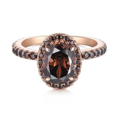Sterling Silver Elegant Halo Round With Oval Cut Chocolate Engagement Ring