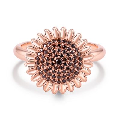 Sterling Silver Exquisite Sunflower Inspired Round Cut Engagement Ring