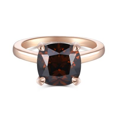 Sterling Silver Delicate Round With Cushion Cut Chocolate Engagement Ring