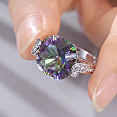 Sterling Silver Delicate Cushion With Round Cut Rainbow Stone Ring