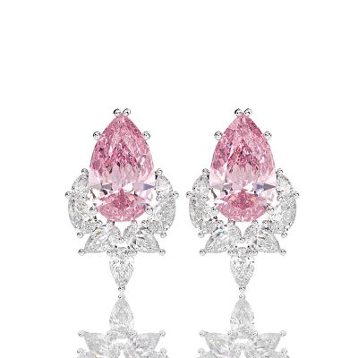 Sterling Silver Exquisite Pear Cut Stud Earrings