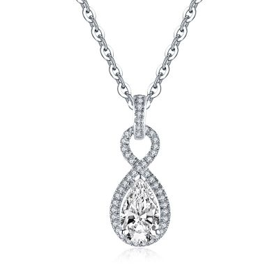 Sterling Silver Classic Twist Halo Pear With Round Cut Necklace
