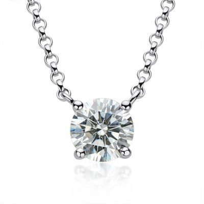 Sterling Silver Classic Four Prong Round Cut Necklace