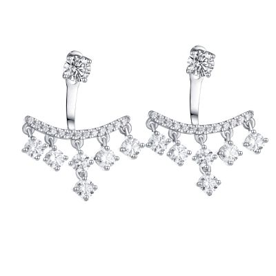 Sterling Silver Unique Round Cut Stud Jacket Earrings