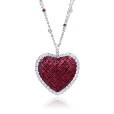 Sterling Silver Exquisite Halo Heart Shape Design Princess With Round Cut Necklace