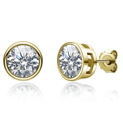 Sterling Silver Circle Design Round Cut Stud Earrings