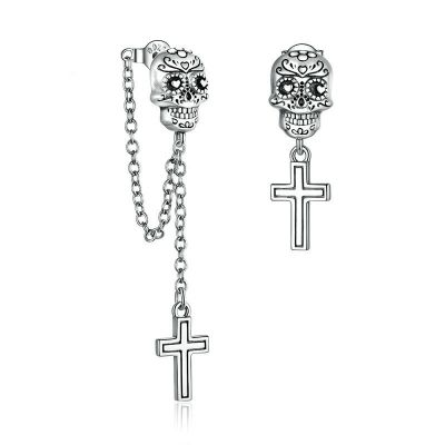 Sterling Silver Exquisite Skull Inspired Drop Earrings