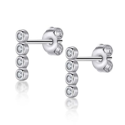 Sterling Silver Link Design Four Stone Round Cut Stud Earrings