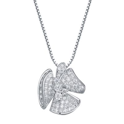 Sterling Silver Flower Inspired Round Cut Necklace