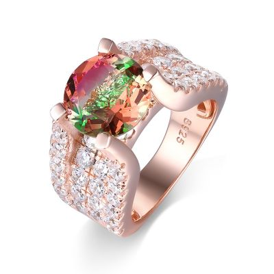 Sterling Silver Delicate Four Prong Round Cut Watermelon Engagement Ring