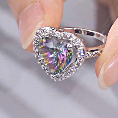 Sterling Silver Elegant Halo Heart With Round Cut Rainbow Stone Ring