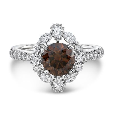 Sterling Silver Delicate Vintage Halo Design Round Cut Chocolate Engagement Ring