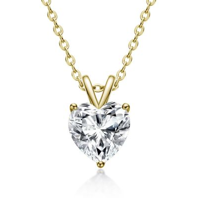 Sterling Silver Classic Three Prong Heart Cut Necklace