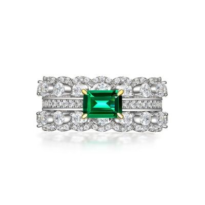 Sterling Silver Classic Eternity  Two Tone Round With Emerald Cut Engagement Ring