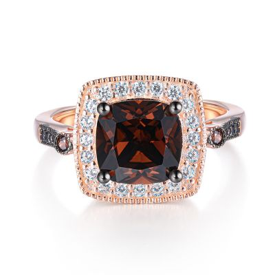 Sterling Silver Elegant Two Tone Halo Cushion With Round Cut Chocolate Engagement Ring