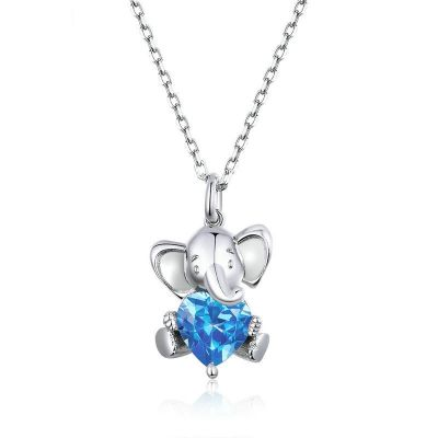Sterling Silver Delicate Elephant Inspired Heart Cut Necklace