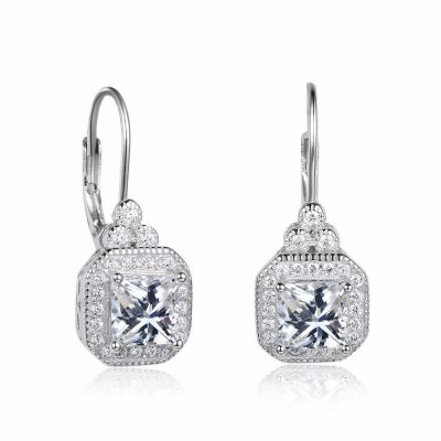 Sterling Silver Classic Halo Round With Princess Cut Drop Earrings