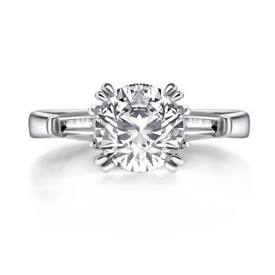 Sterling Silver Three Stone Round Cut Engagement Ring With Tapered Baguette Side Stones