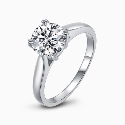 Sterling Silver Simple Solitaire Round Cut Engagement Ring