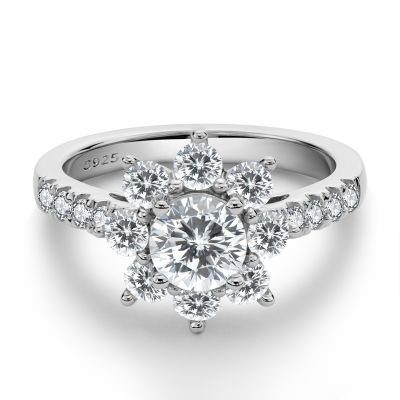 Sterling Silver Flower Halo Round Cut Engagement Ring