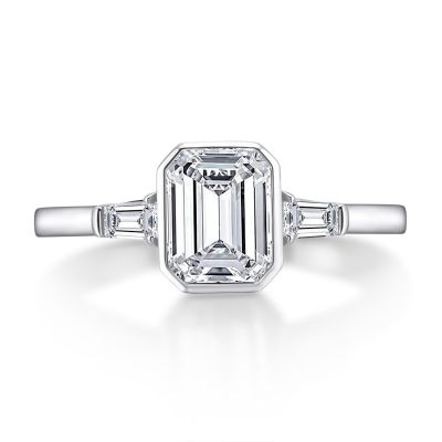 Sterling Silver Classic Three Stone Emerald Cut Engagement Ring