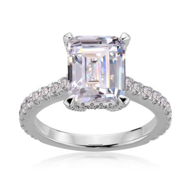 Sterling Silver Classic Halo Emerald Cut Engagement Ring