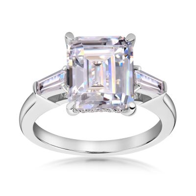 Sterling Silver Three Stone Halo Emerald Cut Engagement Ring