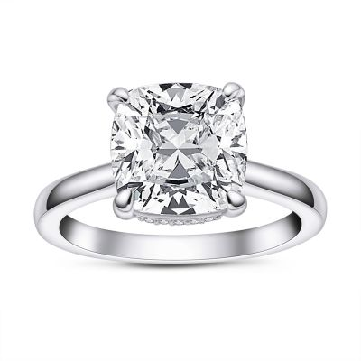 Sterling Silver Classic Halo Cushion Cut Engagement Ring