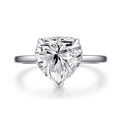 Sterling Silver Classic Halo Heart Cut Engagement Ring