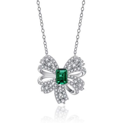 Sterling Silver Bowknot Design Halo Emerald With Round Cut Necklace
