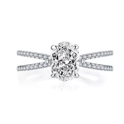 Sterling Silver Split Shank Halo Oval Cut Engagement Ring