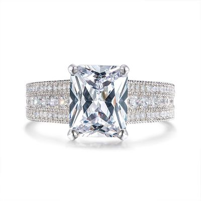 Sterling Silver Hidden Halo Radiant Cut Engagement Ring