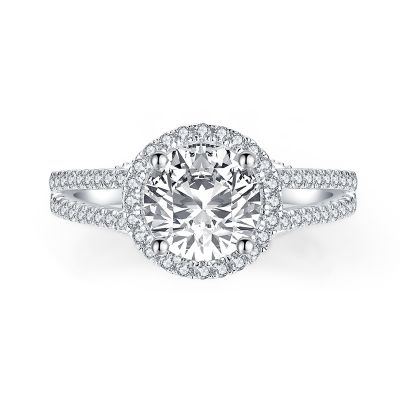 Sterling Silver Classic Split Shank Halo Round Cut Engagement Ring