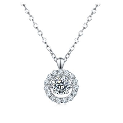 Sterling Silver Delicate Halo Round Cut Necklace
