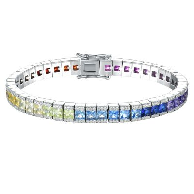 Sterling Silver Multi Color Round And Princess Cut Tennis Bracelet