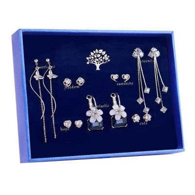 Sterling Silver Elegant Monday To Sunday Daily Earrings Set