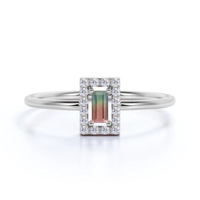 Sterling Silver Delicate Emerald With Round Cut Watermelon Engagement Ring