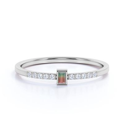 Sterling Silver Classic Emerald With Round Cut Watermelon Engagement Ring