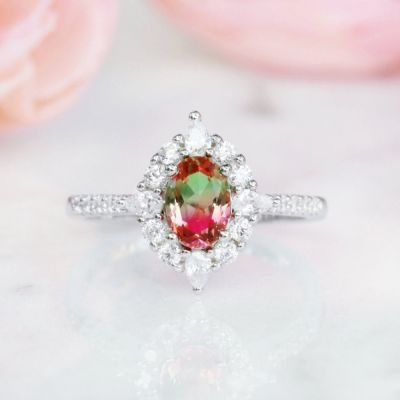 Sterling Silver Vintage Halo Design Oval Cut Watermelon Engagement Ring