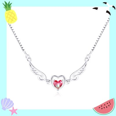 Sterling Silver Unique Angle Wings Inspired Heart Cut Watermelon Necklace