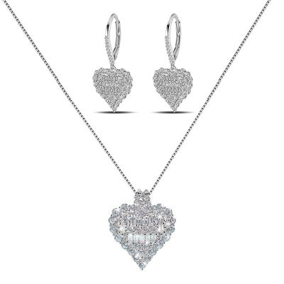 Sterling Silver Exquisite Heart Shape Inspired Round And Baguette Cut Jewelry Set