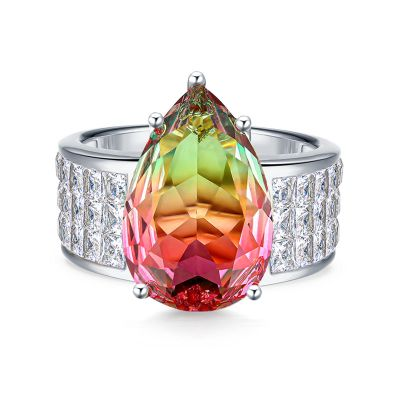 Sterling Silver Classic Pear With Princess Cut Watermelon Engagement Ring