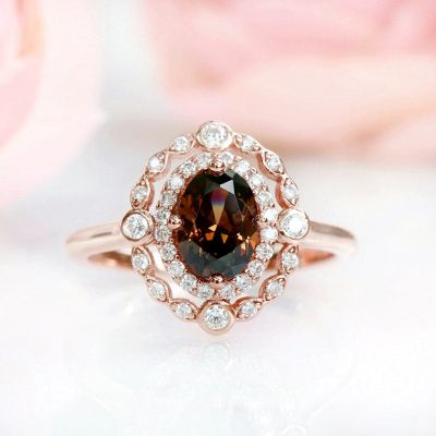 Sterling Silver Elegant Double Halo Design Oval Cut Chocolate Engagement Ring