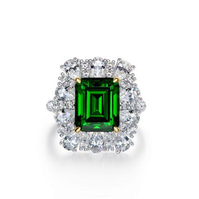 Sterling Silver Delicate Two Tone Halo Emerald Cut Engagement Ring